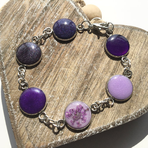 Shades of purple bezel bracelet