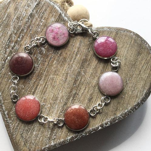Shades of pink bezel bracelet