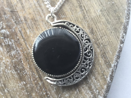 Black and silver grey moon pendant