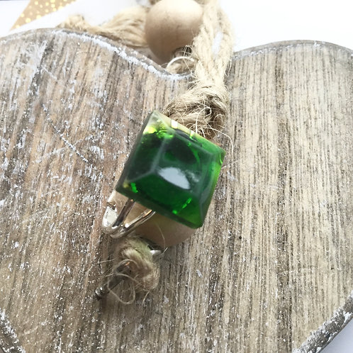 Square green resin stone ring