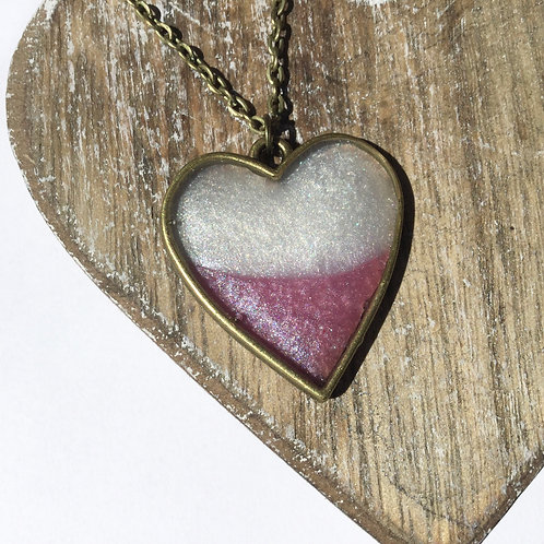 Pink and white shimmer heart pendant