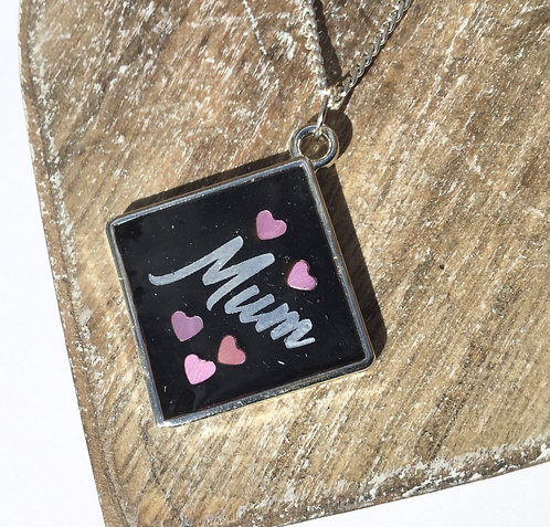 Silver colour black resin mum pendant