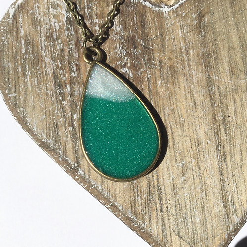 Teal and white tear drop pendant