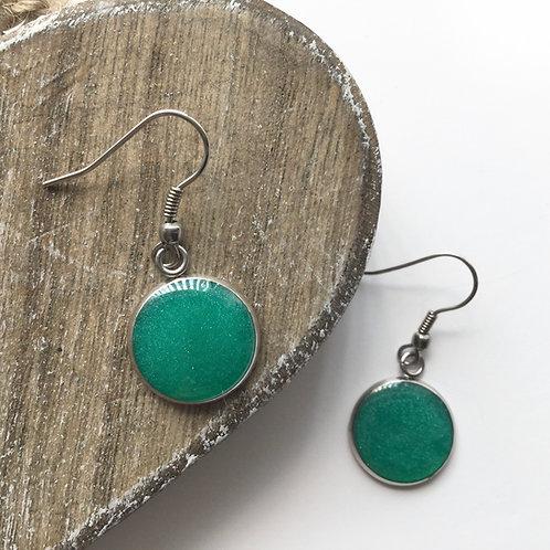 teal metalic round drop earring