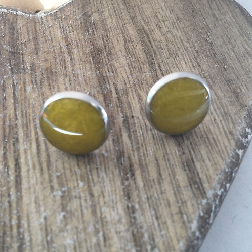 Yellow shimmer stud earrings