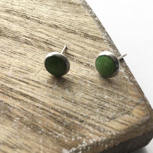 Apple green stud earrings