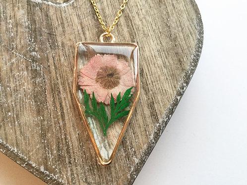 Real daisy open bezel pendant
