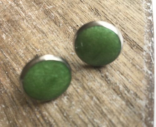 Apple green stud earrings