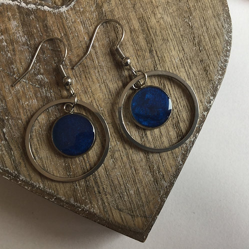 Round light navy drop earrings