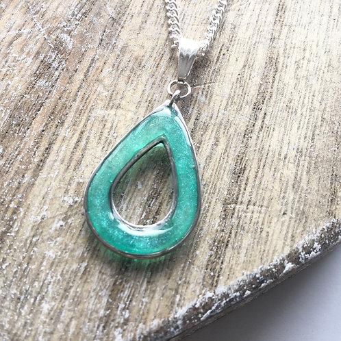Teal open bezel pendant