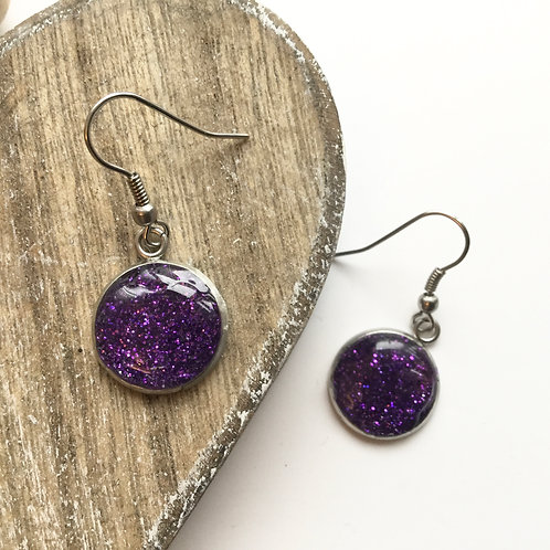 Purple sparkle round drop earrings