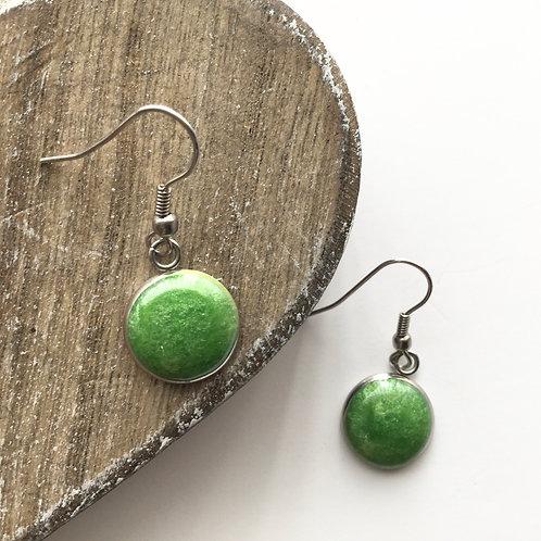 Apple green shimmer round drop earrings