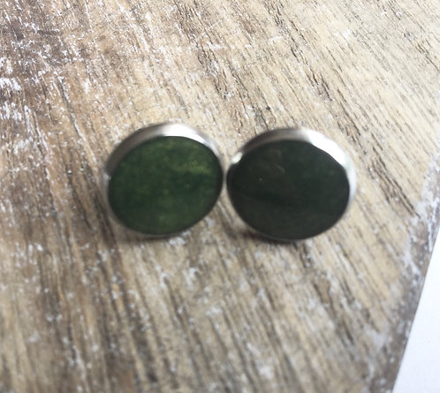 Khaki shimmer stud earrings