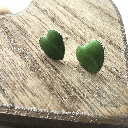 Silver plated heart shaped stud earrings