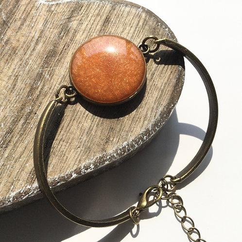 Brass colour sunset orange cuff bracelet
