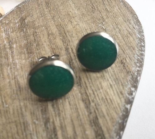 Forest green stud earrings