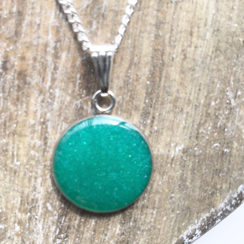 Teal shimmer round pendant