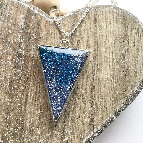 Blue glitter triangle pendant