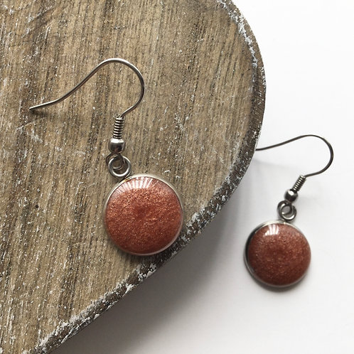 Rose gold shimmer round drop earrings