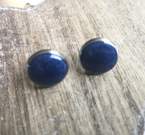 Navy shimmer 12mm  stud earrings