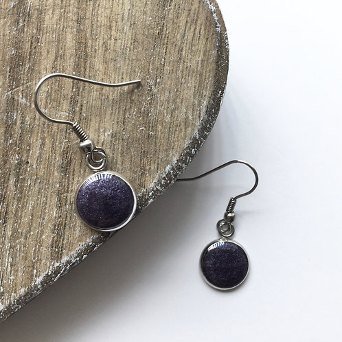 Deep purple sparkle round drop earrings
