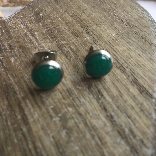 Forest green stud earrings