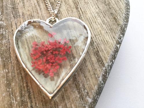 Real flower heart pendant