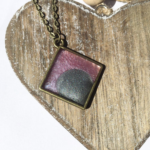 Pink and grey shimmer pendant