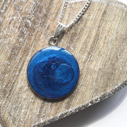 Navy shimmer pendant