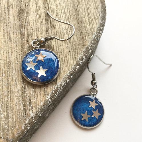 Blue star round drop earrings