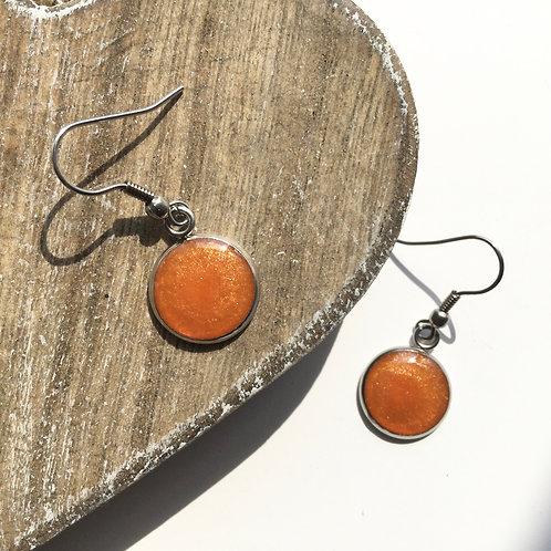 Orange sparkle round drop earrings