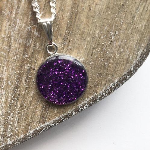 Purple sparkle round pendant