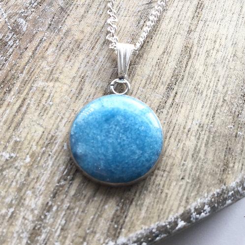Sky blue shimmer pendant