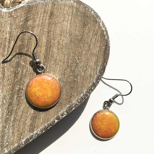 Orange and yellow round drop earrings