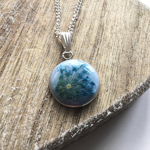 Light blue real flower pendant