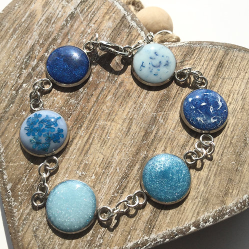 Shades of blue bezel bracelet