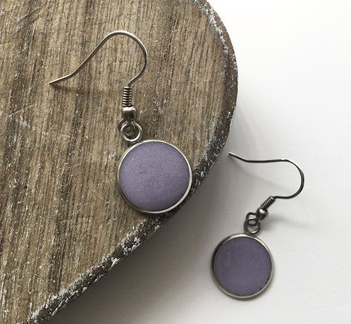 Mauve round drop earrings
