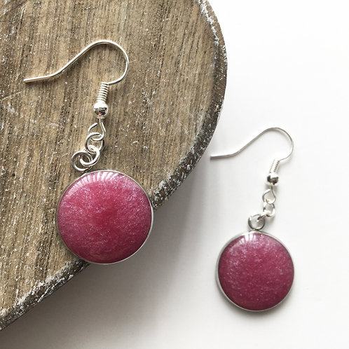 rose pink shimmer round drop earrings