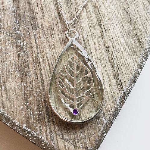 Filagree leaf birthstone alexandrite pendant