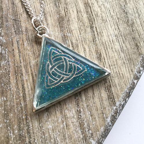 Triangular azure blue celtic knot pendant