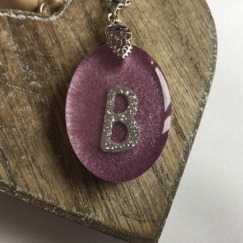Purple resin initial pendant