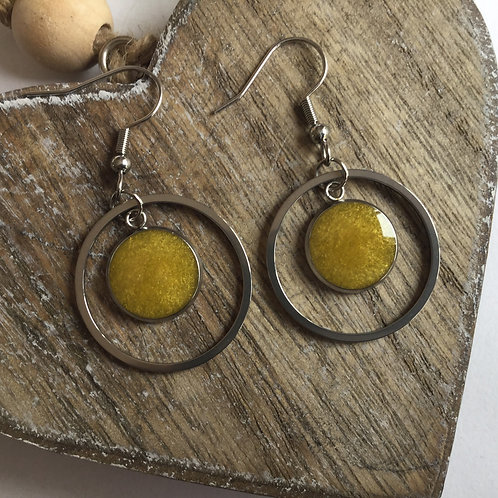 Round yellow drop earrings