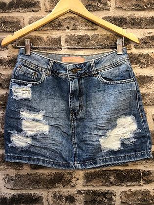 Saia jeans marmorizada