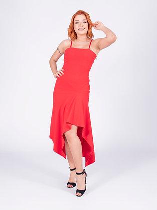 Vestido midi neocrepe vermelho