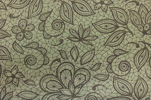 Tricoline - Verde Floral - Fabricart