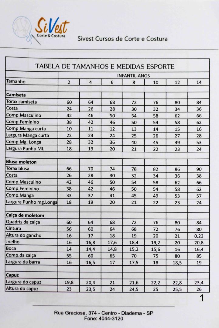 Tabela de Tamanhos e Medidas
