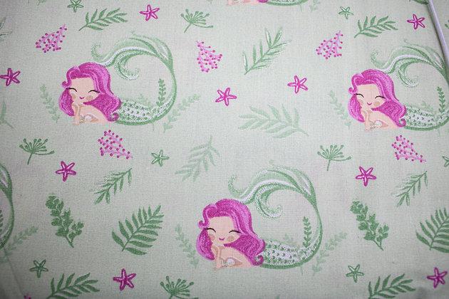 Tricoline - Sereia nas Cores Rosa e verde