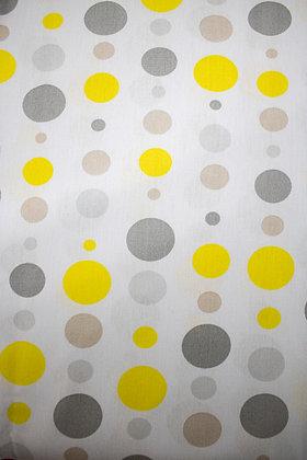 Tricoline - Estampa Círculos - Amarelo e Cinza