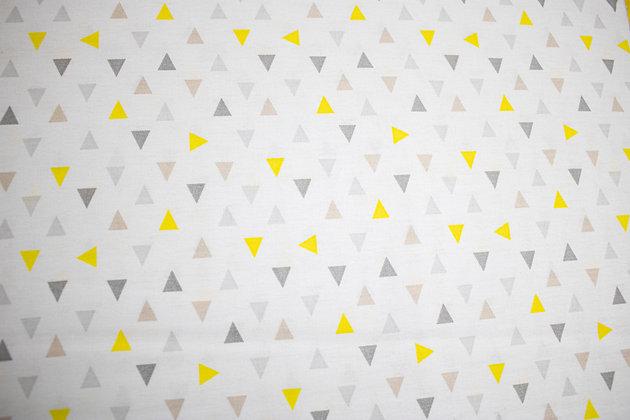 Tricoline - Estampa Triângulos - Cinza e Amarelo