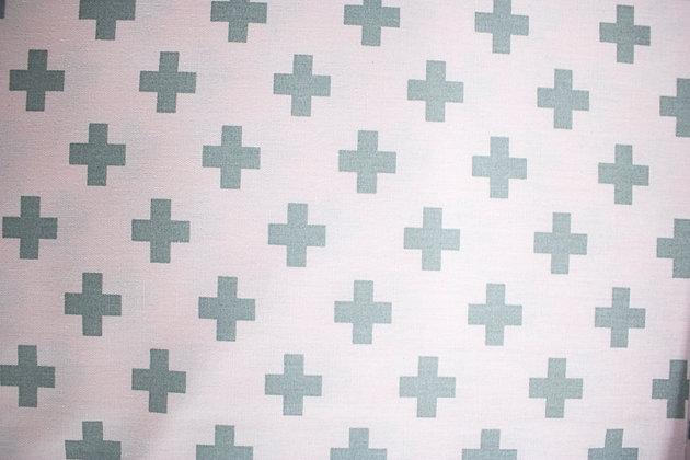 Tricoline Caldeira - Estampa Cruz Cinza Fundo Rosa Claro